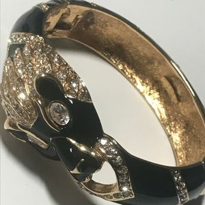 Giorgio black lion rhinestone bracelet